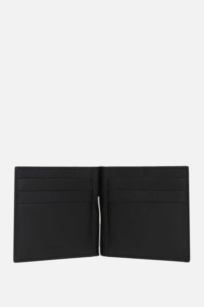 BALENCIAGA: Cash grainy leather money-clip wallet Color Black_2