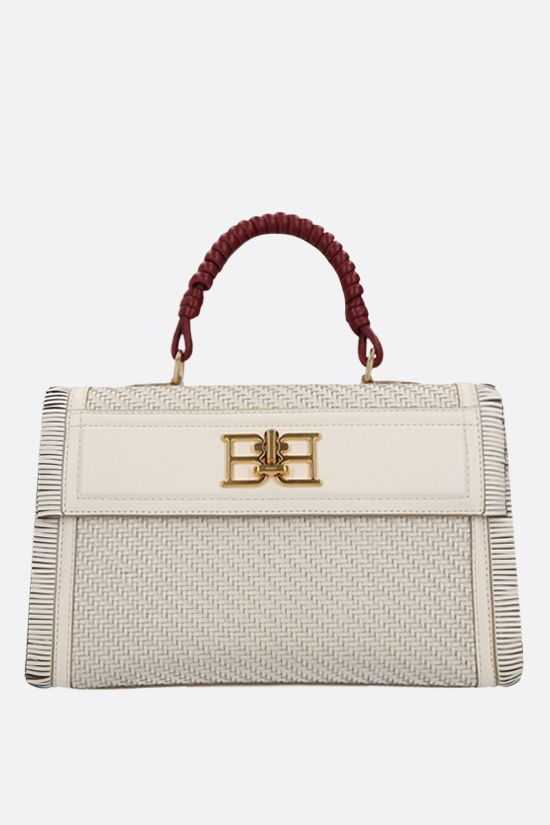 BALLY: Brettie woven leather top handle bag Color Neutral_1