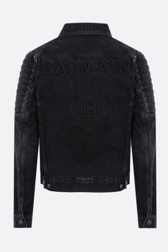 BALMAIN: raising logo denim jacket Color Black_2