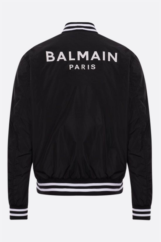 BALMAIN: Balmain Paris print nylon padded bomber jacket Color Black_2
