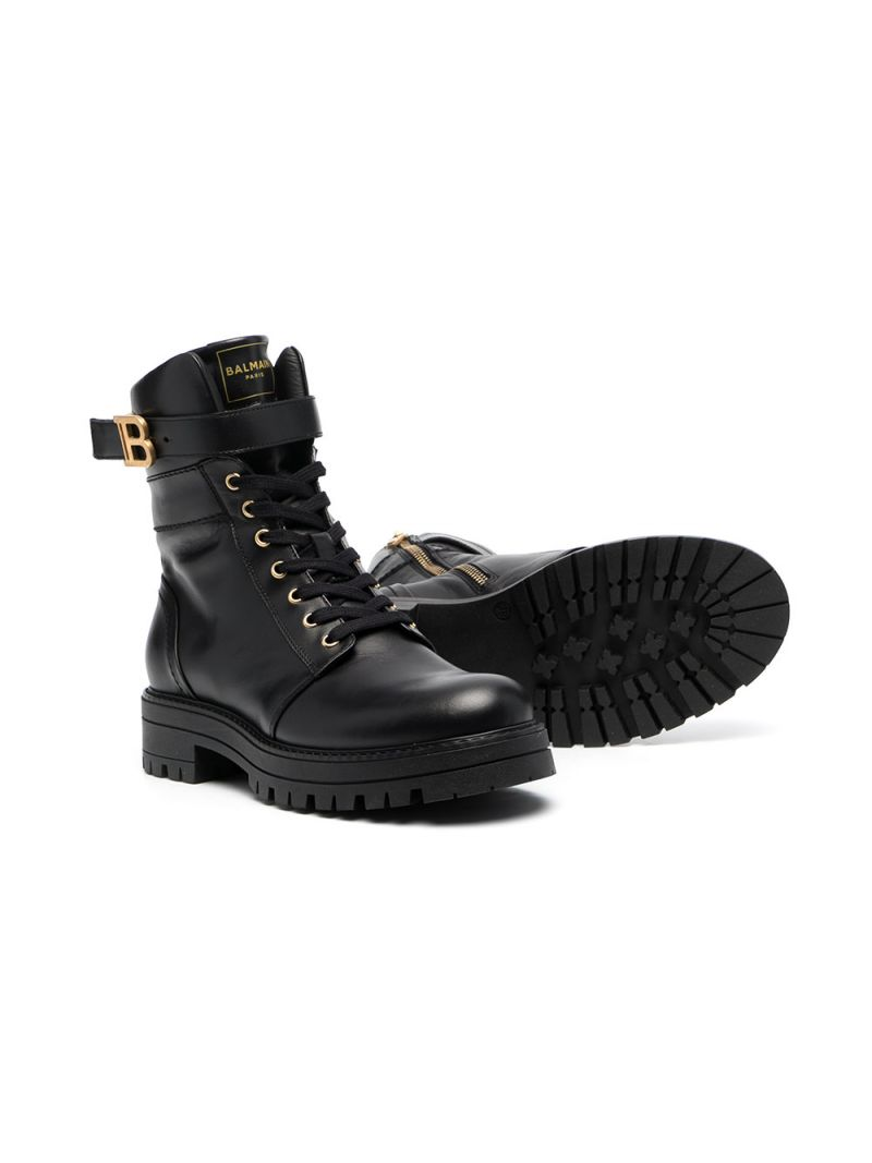 BALMAIN KIDS: smooth leather combat boots Color Black_2