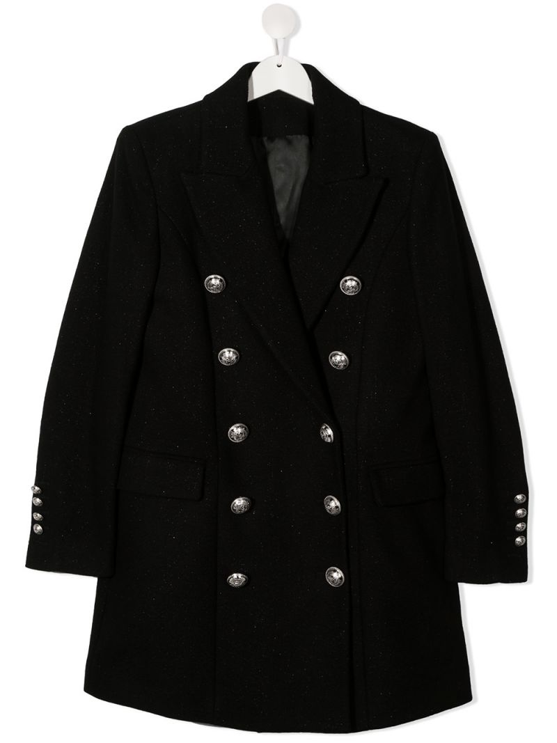 BALMAIN KIDS: double-breasted wool blend coat Color Black_1