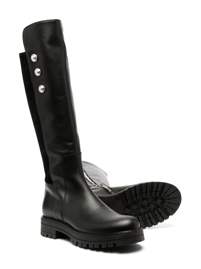 BALMAIN KIDS: button-detailed smooth leather and suede boots Color Black_2