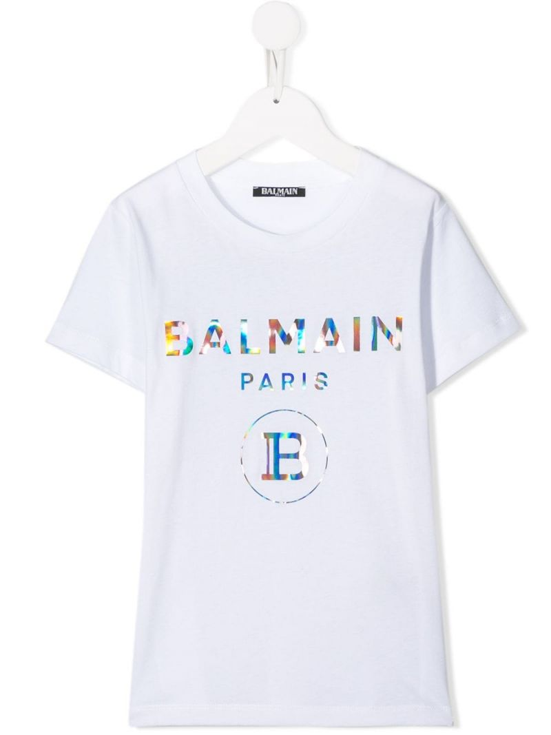 BALMAIN KIDS: Balmain logo print cotton t-shirt Color Multicolor_1