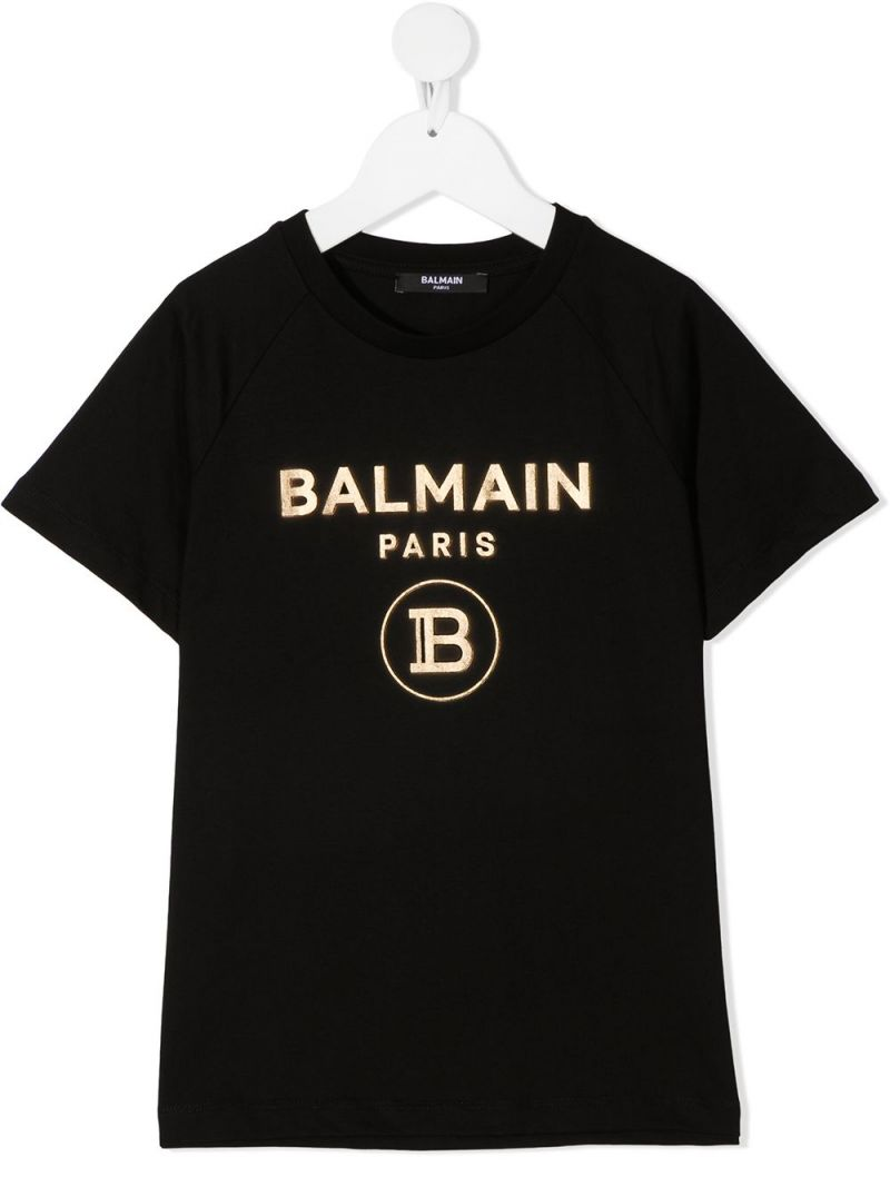 BALMAIN KIDS: Balmain logo print cotton t-shirt Color Black_1