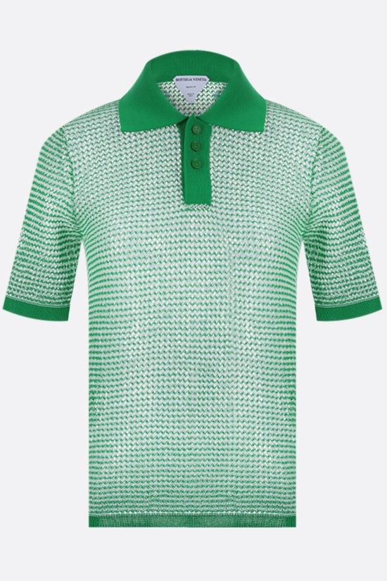 BOTTEGA VENETA: compact cotton mesh polo shirt Color Green_1