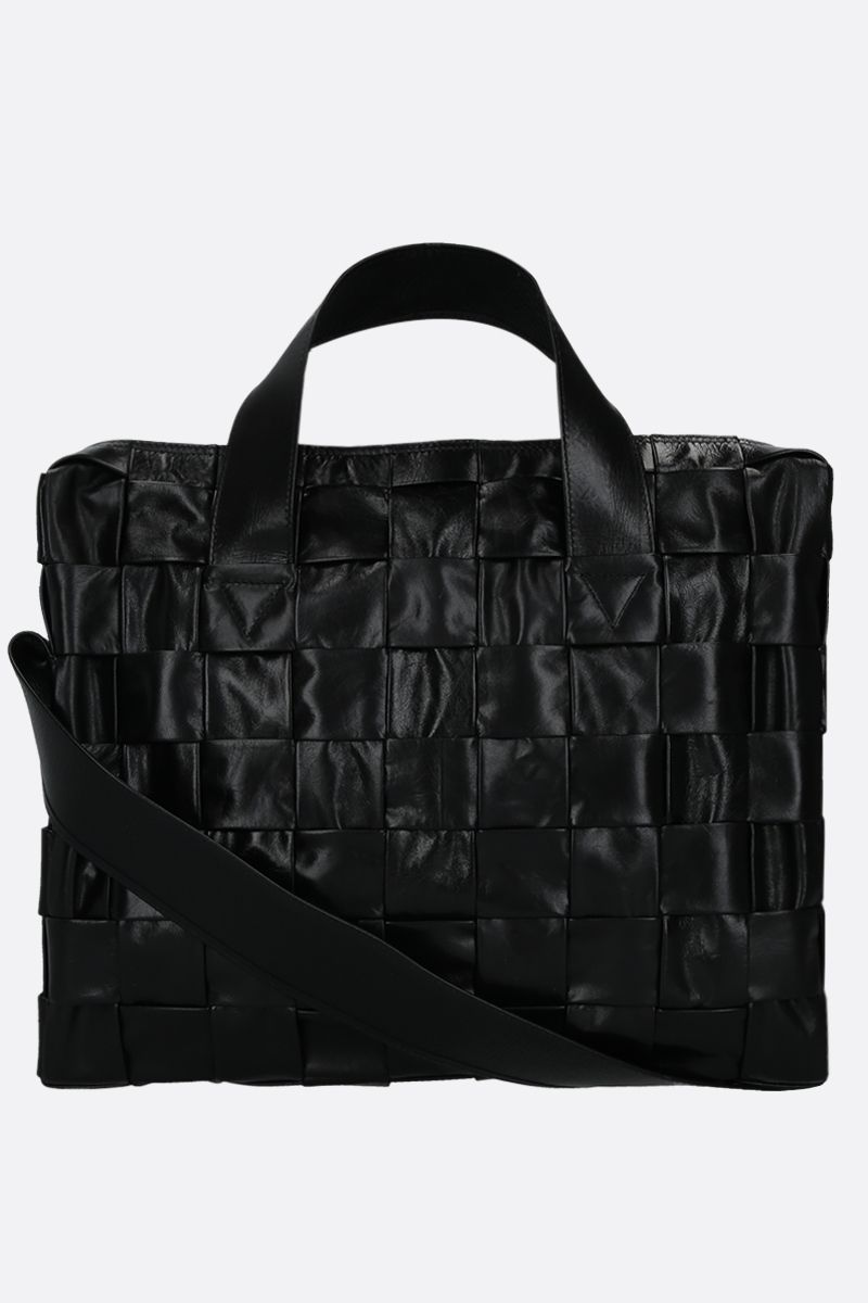 BOTTEGA VENETA: The Cassette Case tote bag in Intrecciato Paper Calf Color Black_1
