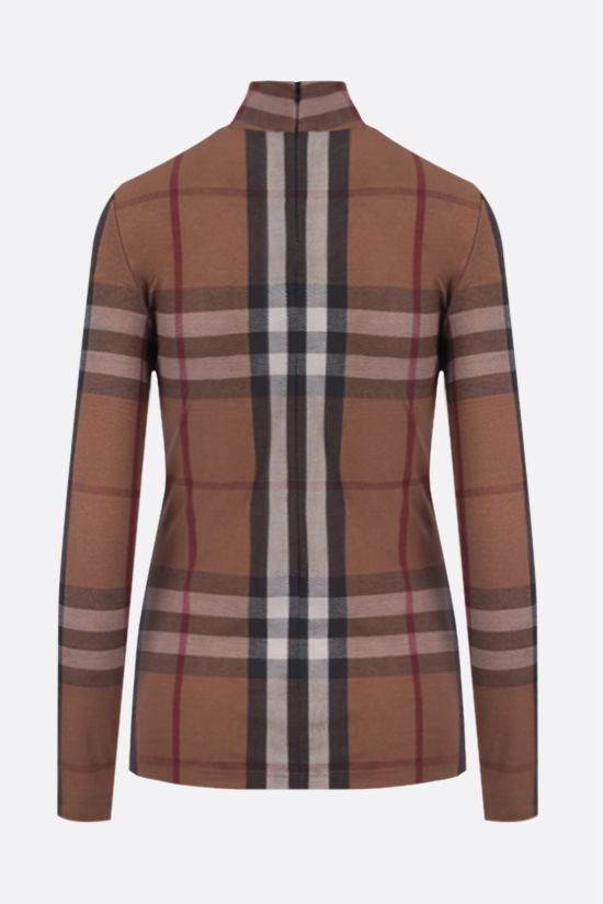 BURBERRY: dolcevita in jersey stretch a stampa tartan Colore Multicolore_2