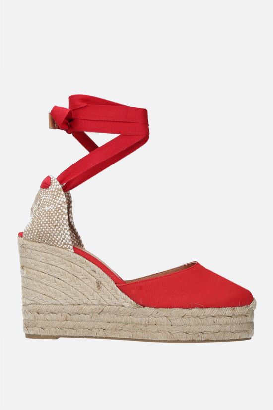 CASTANER: Carina canvas and jute wedge espadrilles Color Red_1