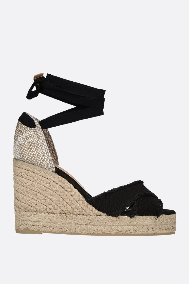 CASTANER: Bluma canvas and jute wedge sandals Color Black_1