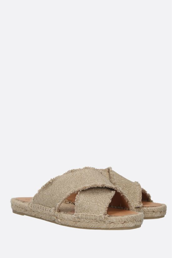 CASTANER: Palmera canvas and lurex flat sandals Color Gold_2