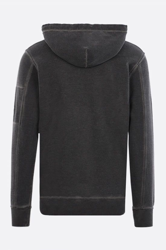 CP COMPANY: garment dyed cotton hoodie Color Black_2