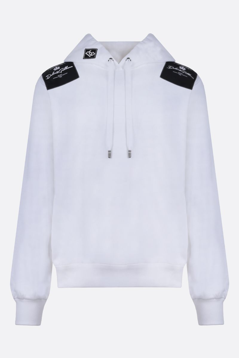 DOLCE & GABBANA: logo patch cotton hoodie Color White_1
