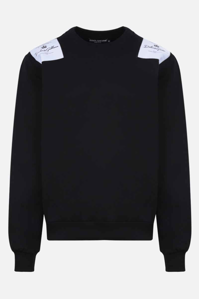 DOLCE & GABBANA: logo patch cotton sweatshirt Color Black_1