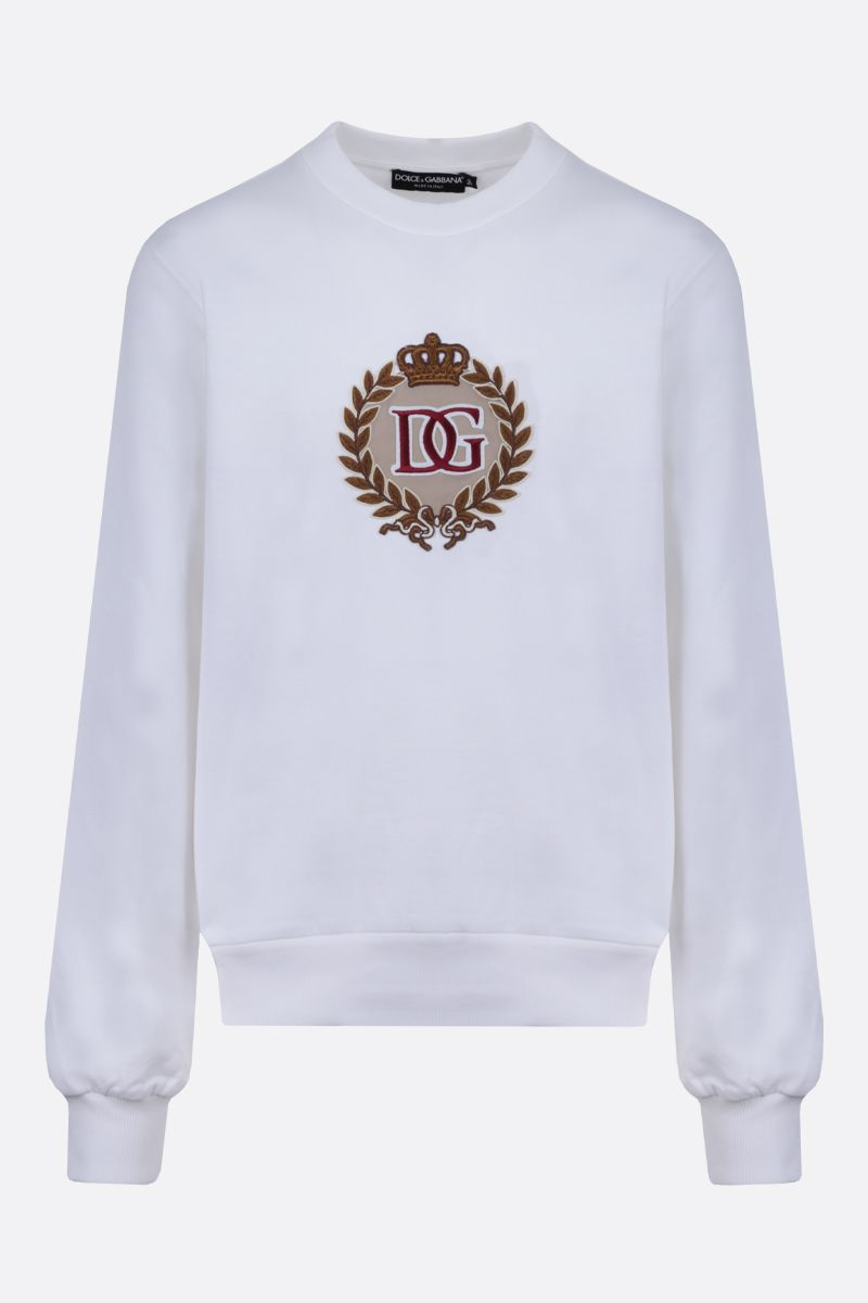 DOLCE & GABBANA: DG Crown patch cotton sweatshirt Color White_1