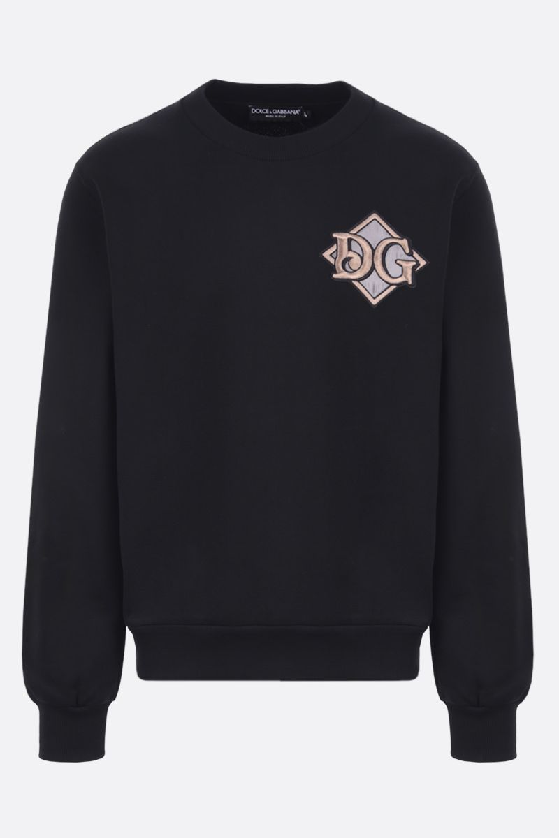 DOLCE & GABBANA: DG patch cotton sweatshirt Color Black_1
