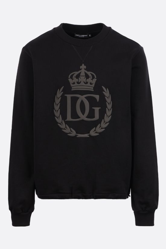 DOLCE & GABBANA: DG logo print cotton sweatshirt Color Black_1