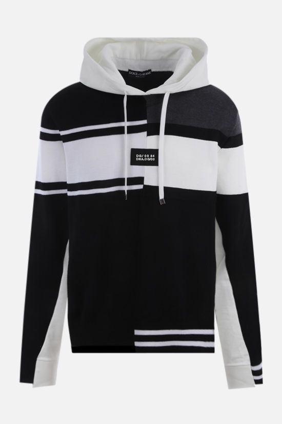 DOLCE & GABBANA: patchwork cotton and wool hoodie Color Black_1