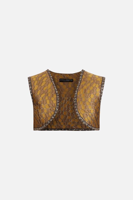 DOLCE & GABBANA: jacquard cropped vest Color Multicolor_1