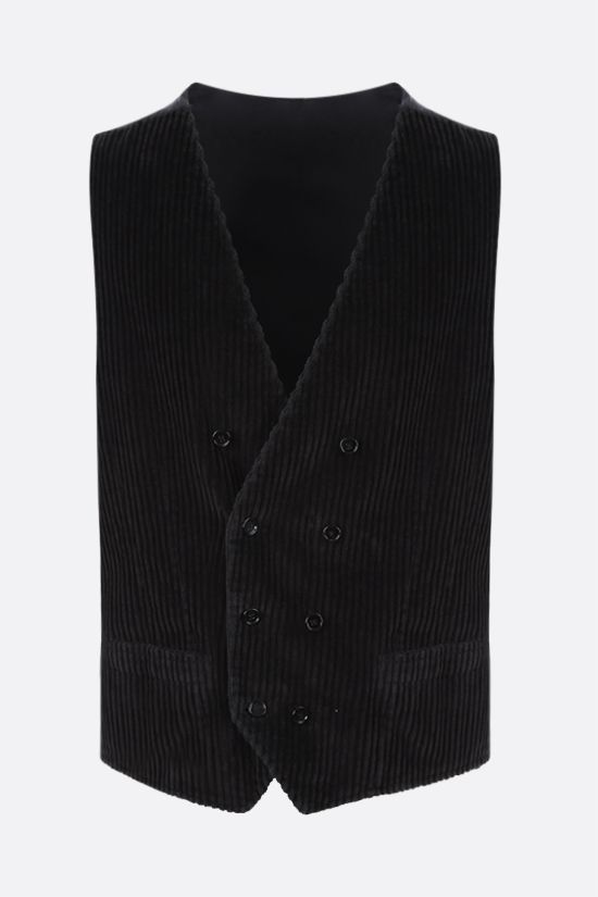 DOLCE & GABBANA: double-breasted corduroy waistcoat Color Black_1