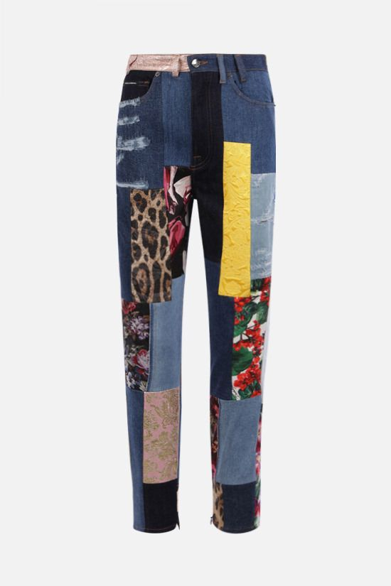 DOLCE & GABBANA: slim-fit patchwork jacquard and denim jeans Color Multicolor_1