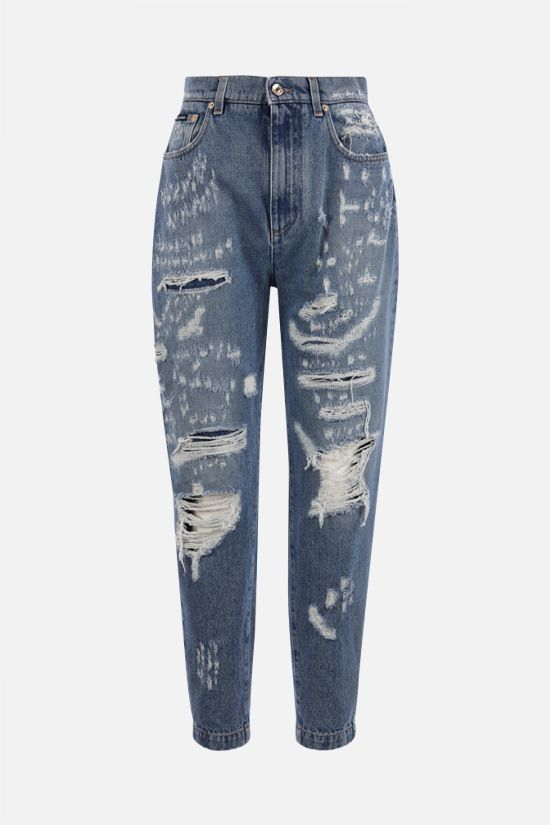DOLCE & GABBANA: Amber jeans with rips and patchwork inserts Color Blue_1