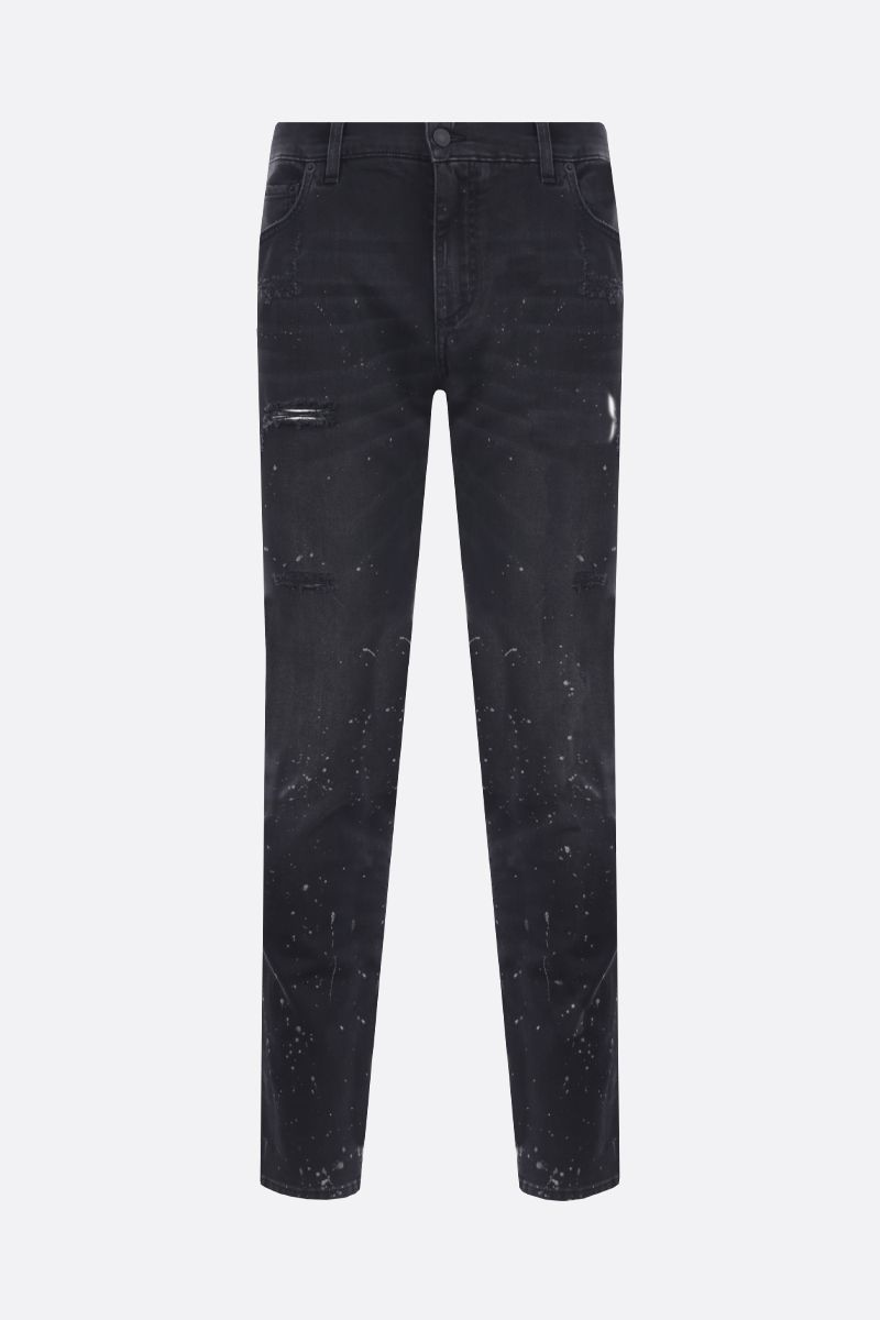 DOLCE & GABBANA: slim jeans with distressed effect Color Black_1