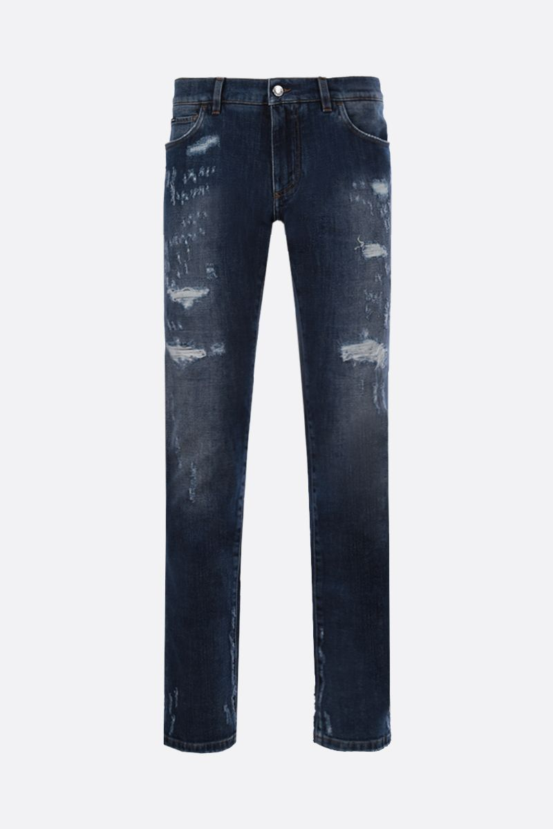 DOLCE & GABBANA: distressed-effect skinny jeans Color Blue_1