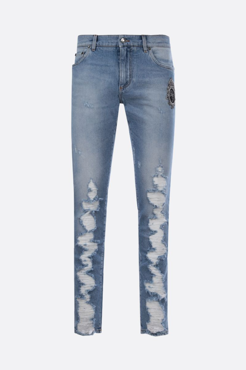 DOLCE & GABBANA: DG Crown patch skinny jeans Color Blue_1
