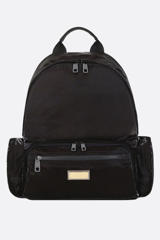 DOLCE & GABBANA: Nero Sicilia DNA shiny nylon backpack Color Black_1