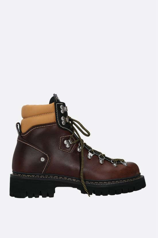 DSQUARED2: smooth leather hiking boots Color Brown_1