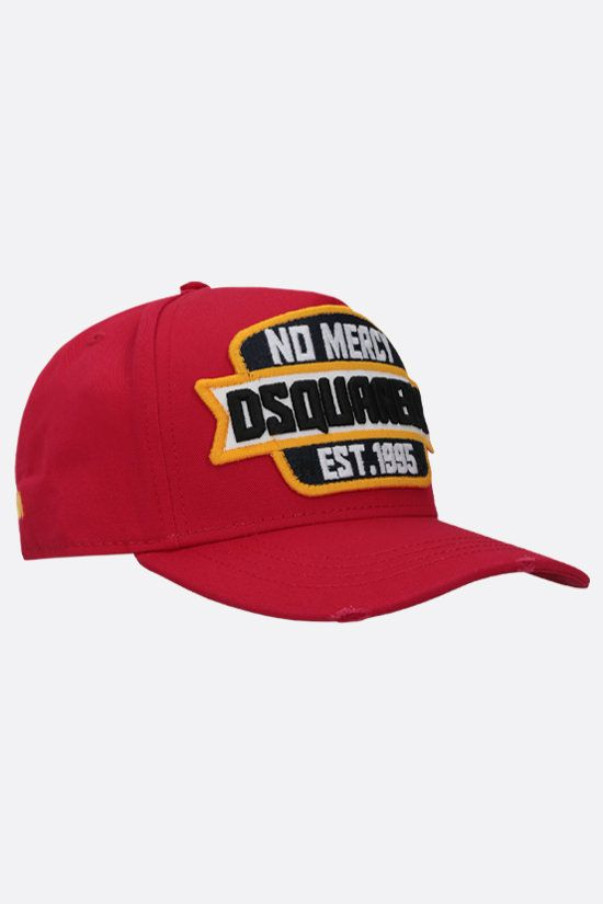DSQUARED2: cappello baseball in canvas patch No Mercy Colore Rosso_2