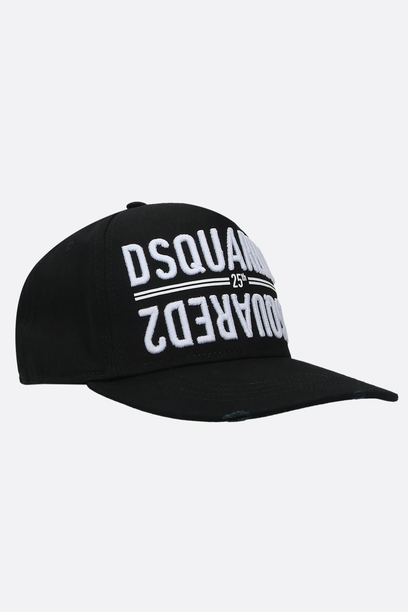 DSQUARED2: mirrored logo embroidered canvas baseball cap Color Black_2
