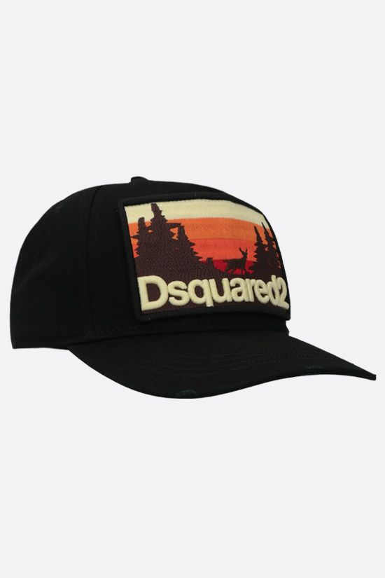 DSQUARED2: cappello baseball in canvas patch logo grafico Colore Nero_2