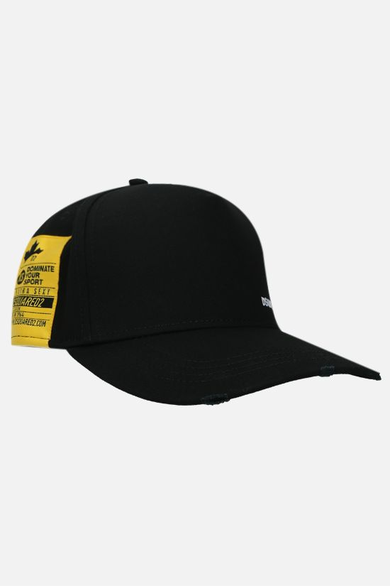 DSQUARED2: DominateD2 cotton baseball cap Color Black_2