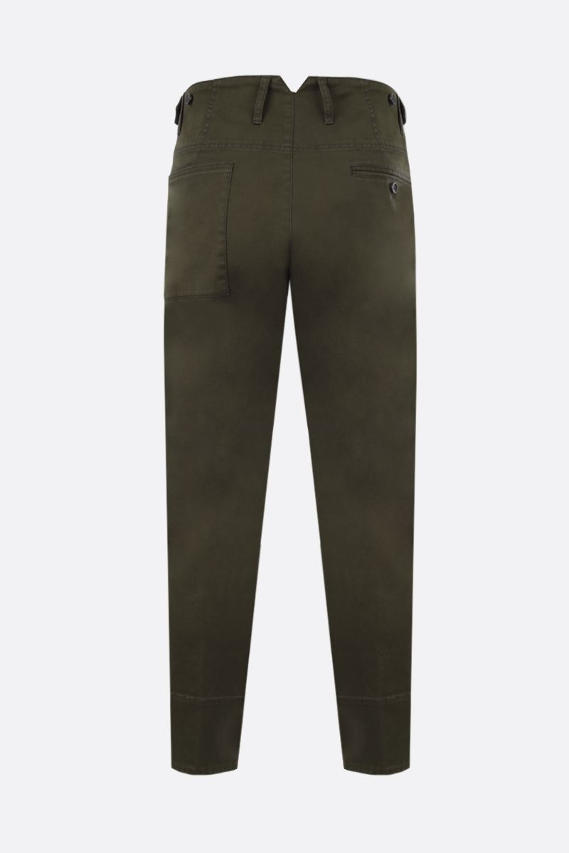 DSQUARED2: stretch cotton darted pants Color Green_2