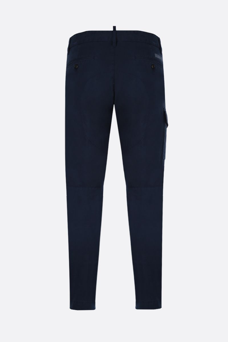 DSQUARED2: logo print cotton cargo pants Color Blue_2