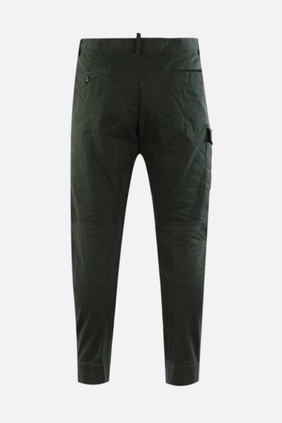 DSQUARED2: distressed-effect cotton cargo pants Color Green_2