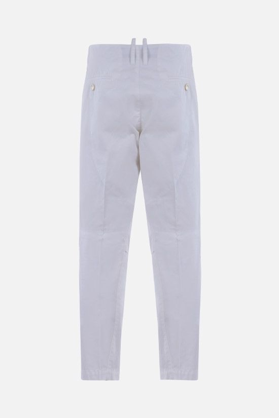 DSQUARED2: Canadian Leaf print cotton chino pants Color White_2
