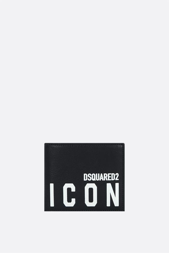 DSQUARED2: Icon Dsquared2 grainy leather billfold wallet Color Black_1