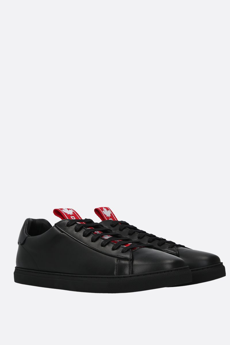 DSQUARED2: Evolution Tape smooth leather sneakers Color Black_2