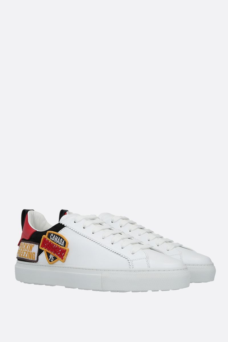 DSQUARED2: San Diego smooth leather and suede sneakers Color White_2