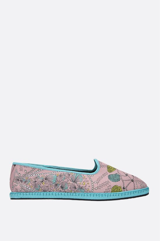 EMILIO PUCCI: seashell print twill ballerinas Color Blue_1