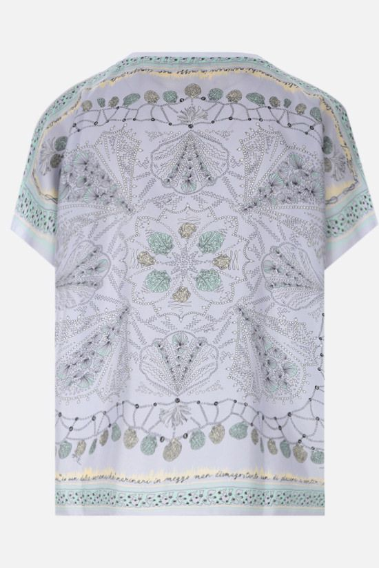EMILIO PUCCI: seashell print twill and jersey t-shirt Color White_2