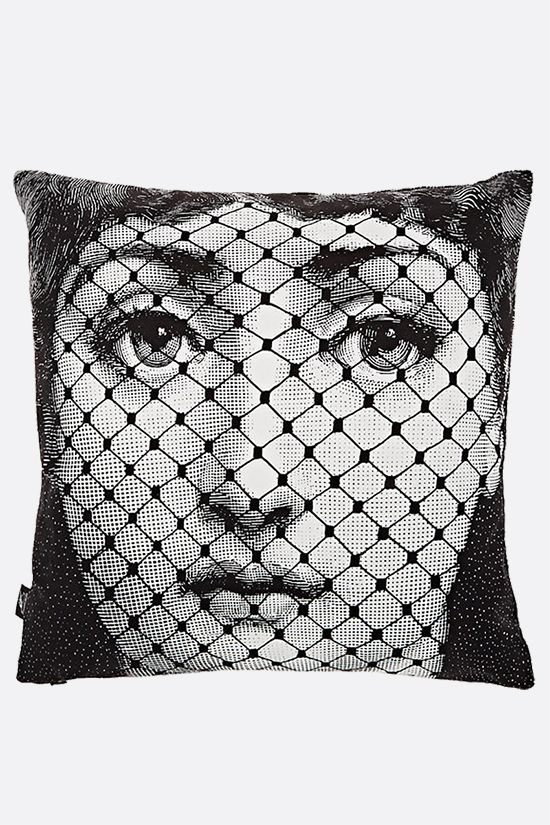 FORNASETTI: Burlesque canvas cushion Color Grey_1