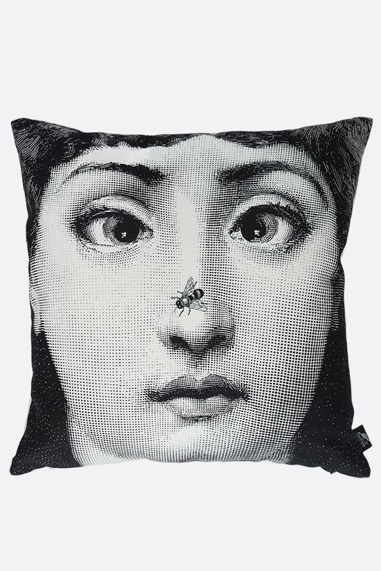 FORNASETTI: Ape linen cotton blend cushion Color Grey_1