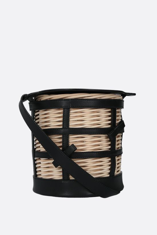 GATTI: Lily wicker and smooth leather bucket bag Color Multicolor_2