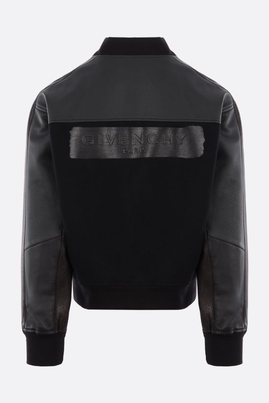 GIVENCHY: logo-detailed technical wool and leather bomber jacket Color Black_2