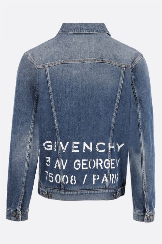 GIVENCHY: giubbotto in denim stretch stampa Givenchy Colore Blu_2