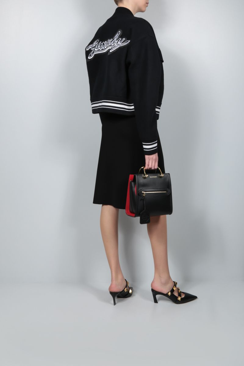 GIVENCHY: bomber cropped in lana patch logo Colore Nero_2